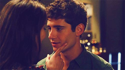 "Pretty Little Liars, 2x21, ""Breaking the Code,"" aired on 20 Feb. 2012. Spencer Hastings (Troian Bellisario) & Wren Kingston (Julian Morris). Wren: ""Like? Um... All right, I'm a touch what you'd call OCD. Every book on my bookshelf has to be in alphabetical order -- or I can't sleep."" Spencer: ""Then... what is Aristotle doing on the bottom row?"" Wren turns to look but, Spencer turns his head back around. Spencer: Oh! ...It's okay. Aristotle is exactly where he should be."" Spencer kisses Wren."