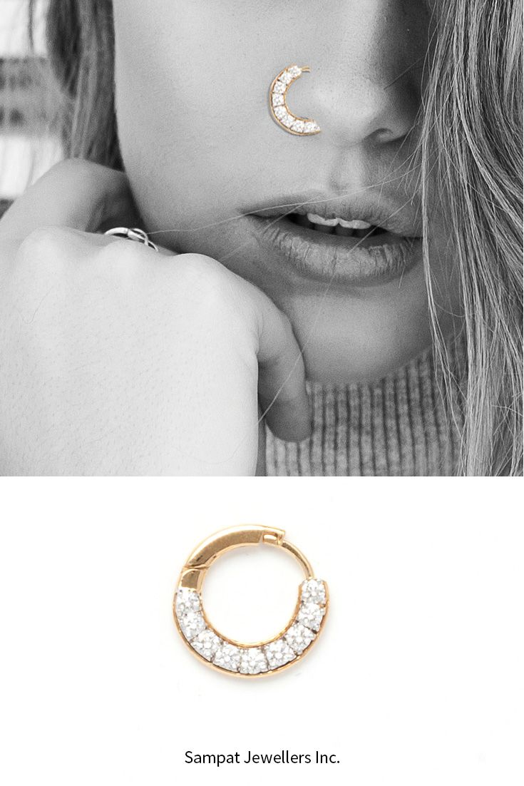 aca886e1dce52 Nose Rings to Die for | Bridal Diary | Diamond nose ring, Gold nose ...