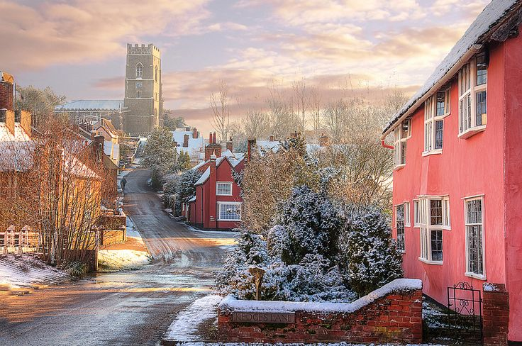 Kersey Village in Suffolk, England and the 12th century church of St Mary. This photo has a beautiful dream like quality to it