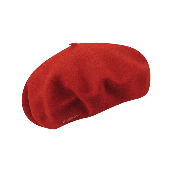 """Women's Kangol 11"""" Modelaine Shower Proof Beret - Red ($43) ❤ liked on Polyvore featuring accessories, hats, red, head, wool hat, kangol, wool beret, wool beret hat and red hat"""