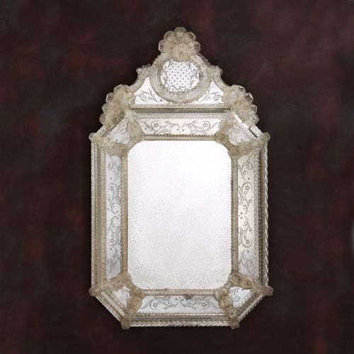 Best of Antiqued Venetian mirror framed in hand etched glass with gold highlights trimmed with glass Photo - Lovely venetian glass mirror Simple Elegant