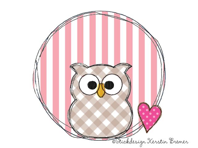 Eulen Doodle Stickmuster für eine Stickmaschine von KerstinBremer.de ♥ Owl doodle appliqué embroidery for embroidery machines. Freehand machine embroidery style.