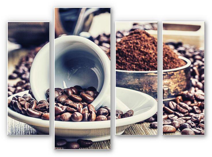 Eine schöne Deko-Idee für Kaffee-Liebhaber. Besonders passend für die Küche oder den Essbereich.  Artikeldetails:  Größe: (B/H): 3x 30/80 cm + 40/100 cm,  Material/Qualität:  Hartschaum,  Qualitätshinweise:  Hartschaumplatten bestehen aus verfestigtem Schaum (Polyvinylchlorid). Die Drucke erfolgen auf dem original Forex® Material., Weiße Kanten und weiße Rückseite,  Wissenswertes:  Inkl. Wandha...