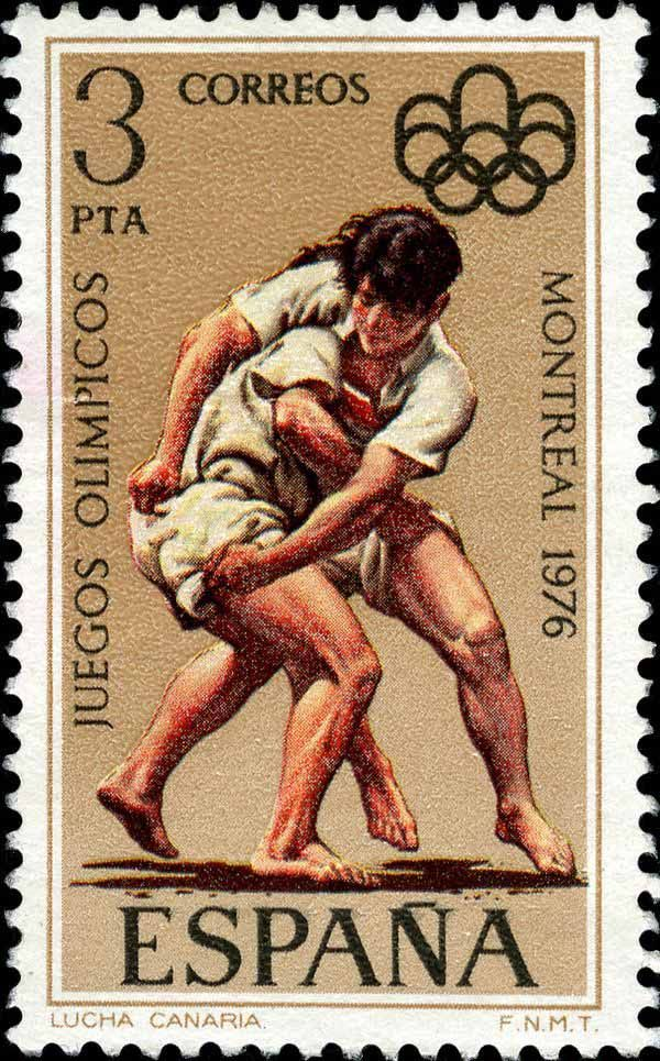 Lucha Canaria ,(Canarian Wrestling) . Games of the XXI Olympiad ,Summer Olympic Games Montreal -   Spain stamp 1976