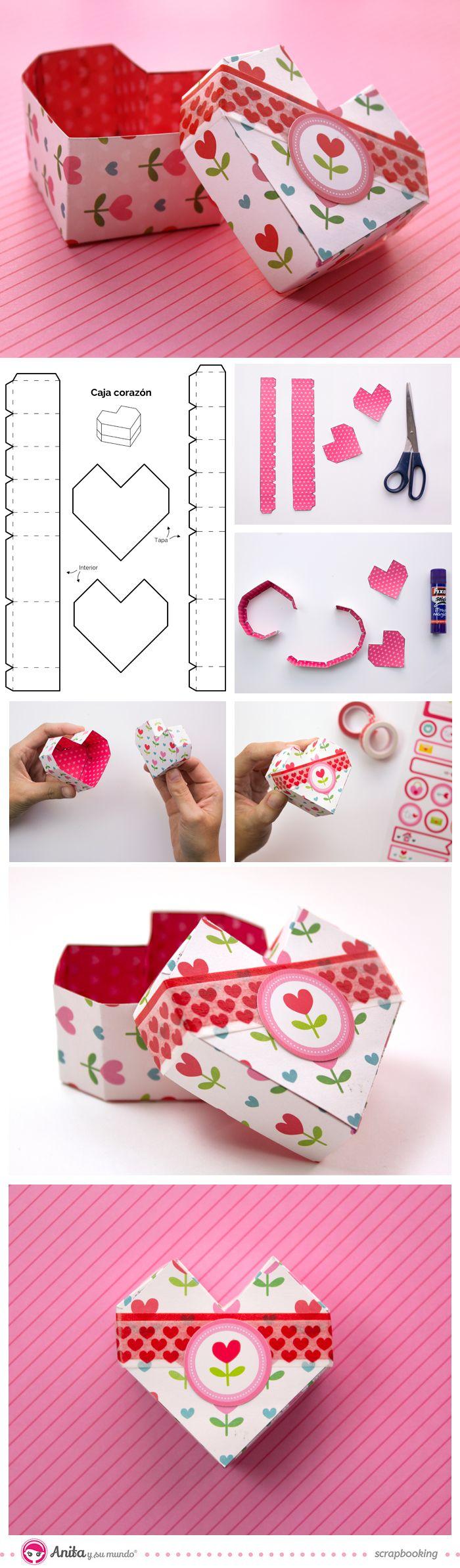 caja de papel en forma de corazón - #origami heart box #Anitaysumundo #valentineday #love #scrap #papercraft