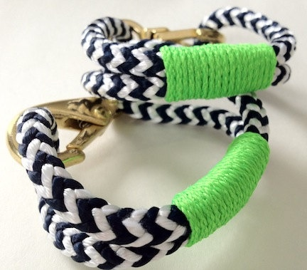 Navy & White Nautical Rope Bracelet with Lime Green Wrap and a Bronze Clasp. $19.95, via Etsy.