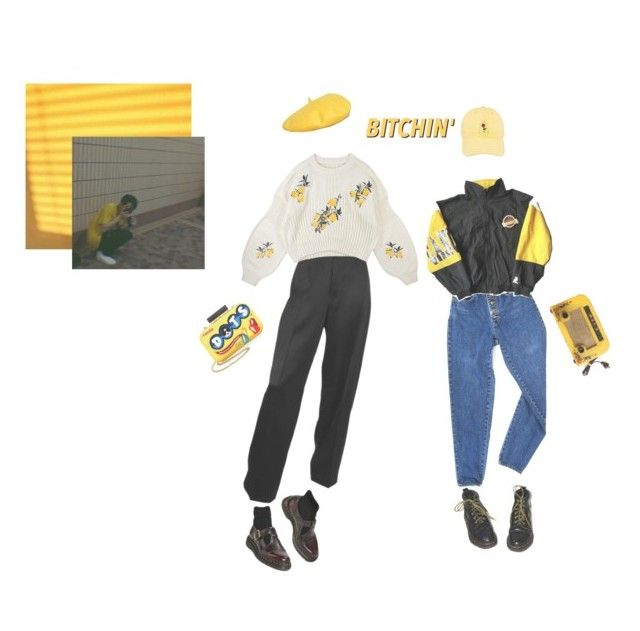 """""""«YeLowS Gang»"""" by parkeunseo on Polyvore featuring My Accessories, PèPè, Dr. Martens, Black Apple, Alice + Olivia and yellow"""