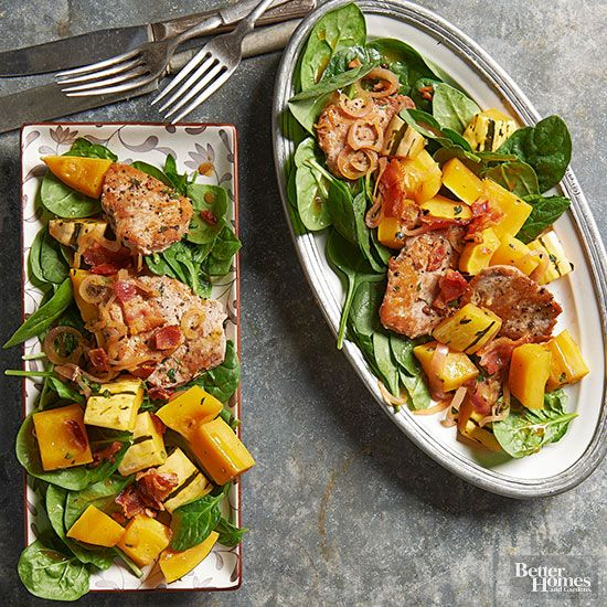 This healthy winter salad recipe is hearty enough to have as a main dish for dinner! Pork and squash top a bed of spinach for a high protein meal for four! It only takes 30 minutes to make this tasty warm salad that the whole family will enjoy.