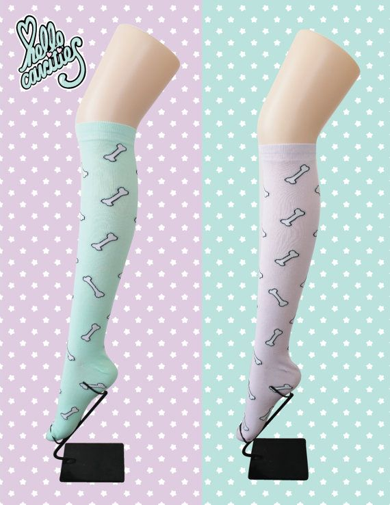 NEW Hello Cavities Bubble Bone Knee High Socks by hellocavities