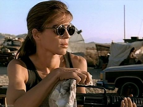 Linda Hamilton in Terminator. This chick was serious business.