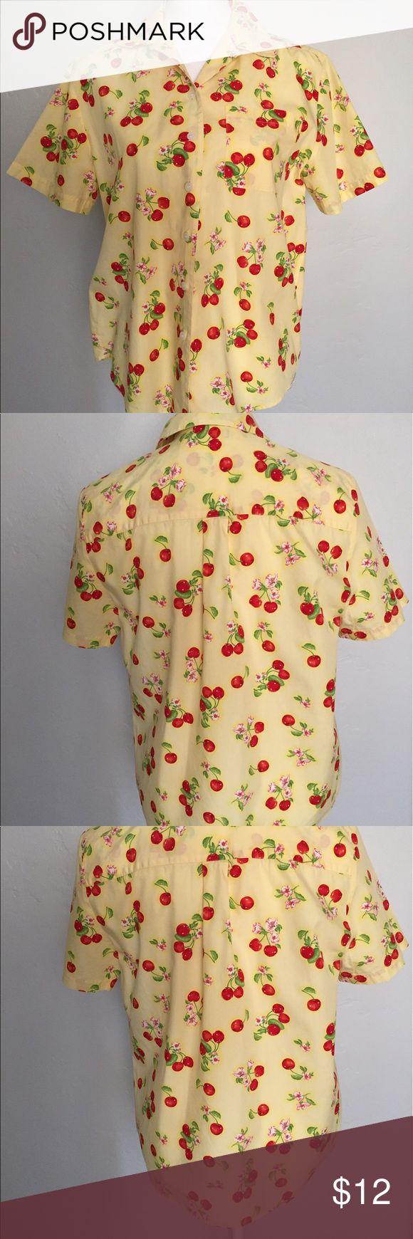 Karen Scott Sport Cherries Shirt, size S 100% cotton light weight Cherries print. Very good preowned condition. Karen Scott Tops Blouses