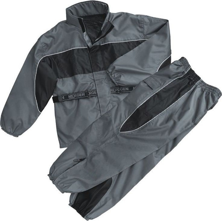 MOTORCYCLE RAIN GEAR MEN'S RAIN SUIT WATERPROOF LIGHTWEIGHT BLK/GREY COLOR #Shaf