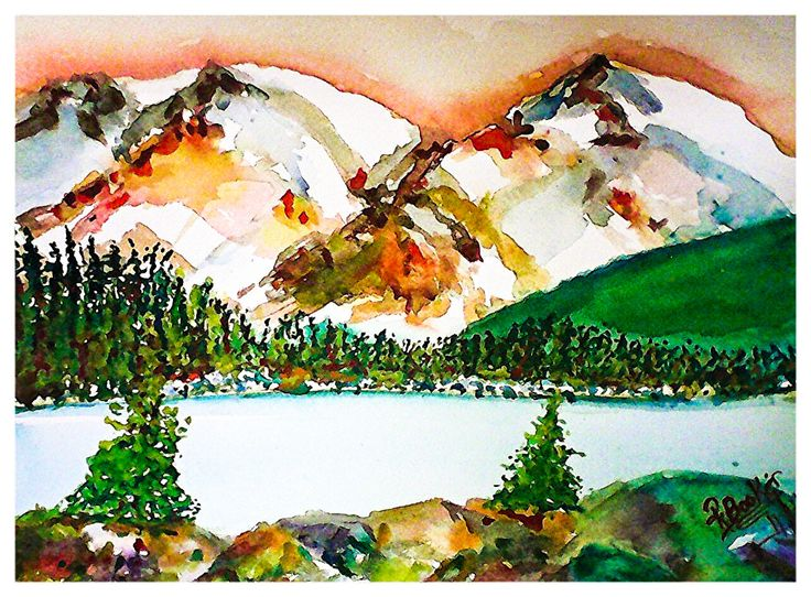 """Original Watercolor Landscape Painting: """"Copper Lights"""" 9x12, Unframed - by Robin Booker by BluberryHillBoutique on Etsy"""