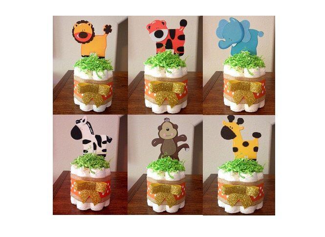 Set of 6, Safari Baby Shower Center Pieces, Mini Safari Diaper Cakes, Jungle Diaper Cakes, Baby Shower Decor, Baby Shower Centerpieces by StorkandCo on Etsy https://www.etsy.com/listing/471174673/set-of-6-safari-baby-shower-center