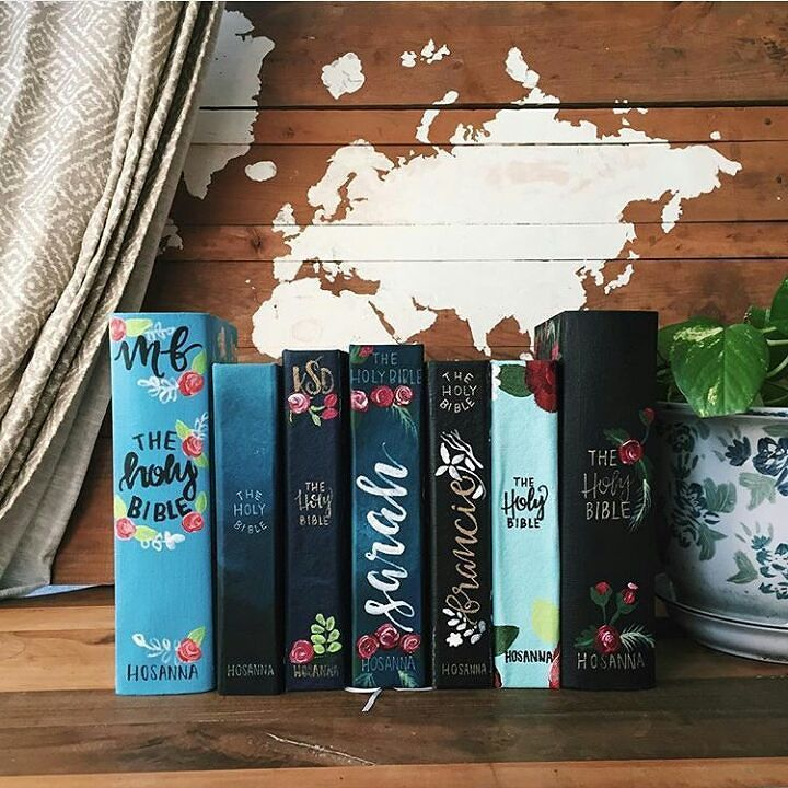 Some beautiful hand painted bible covers by @hosannarevival #biblecover…