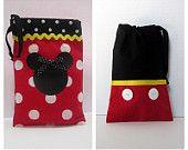 DIY Disney tote bags using red polka dot or black fabric (no