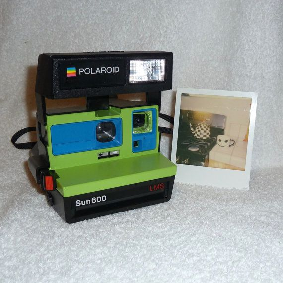Upcycled Green and Blue Polaroid Sun 600  by UpcycledClassics
