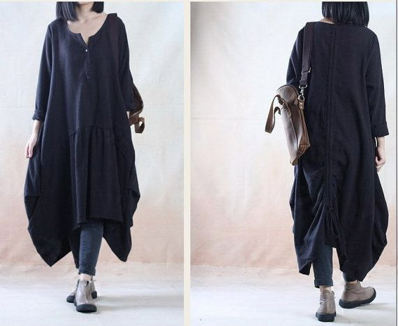 Taille plus robe de lin surdimensionné Tunique robe robe longue robe maxi automne robe manches longues casual robe ample robe chemisier grand