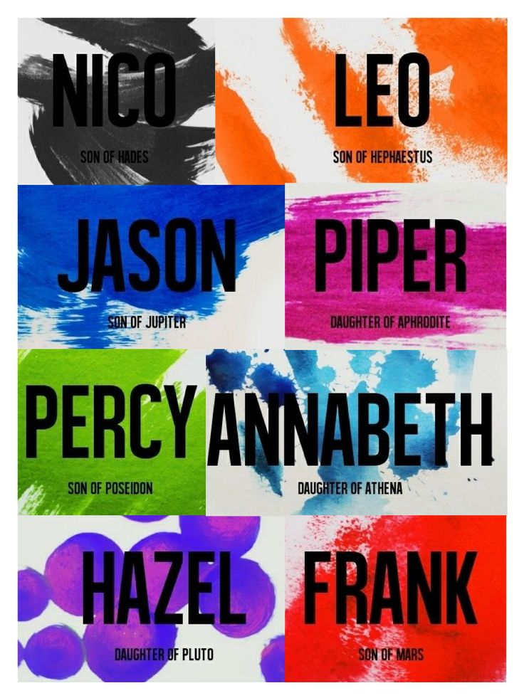 Percy Jackson, Annabeth Chase, Jason Grace, Piper Mclean, Hazel Levesque, Frank Zhang, Leo Valdez, and Nico di Angelo, it's perfect!