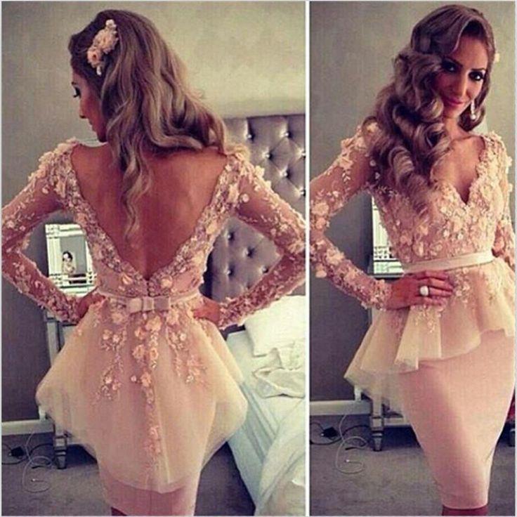 Long Sleeves Prom Dresses, V-Neck Prom Dresses, Open Back Prom Dresses, Formal Prom Dresses, Unique Prom Dresses,Evening Dresses,Prom Dresses Online,PD0105
