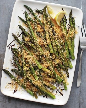 Roasted Asparagus with Lemony Breadcrumbs. Lemon juice and zest ...
