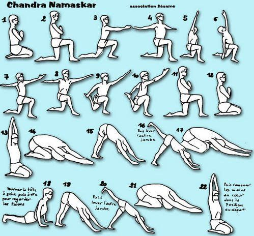 Nice variation on Moon Salutation. Good for a warm up before or near the end of class.