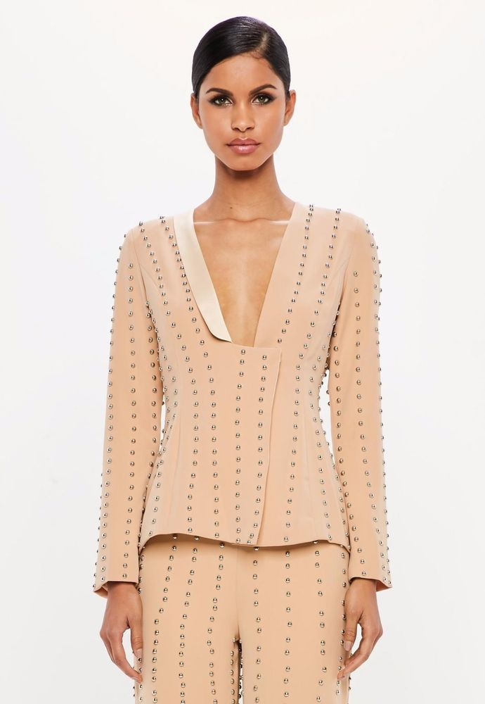 4fa48bf18a07 Peace & Love Nude Stud Detail Wrap Jacket Blazer Dress Jacket 6 34 £70 New  #Missguided #Blazer #Formal