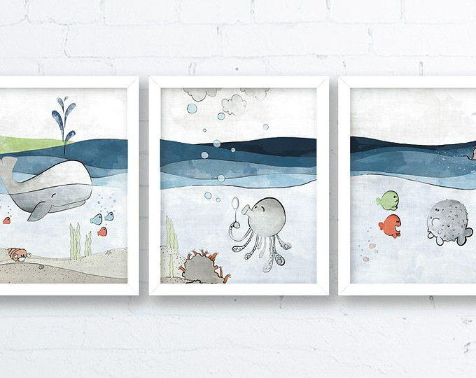 Ocean Nursery Decor Whale Nursery Grey Blue Kids Room Art Etsy
