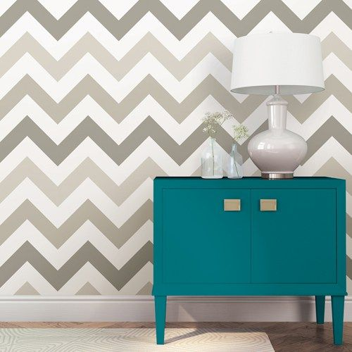 "Zig Zag Taupe Peel and Stick Wallpaper Single Roll. NUWallpaper by Brewster Removable, doesn't damage walls. $44.95 20.5"" x 18' long"