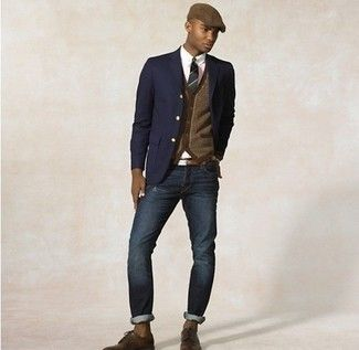 Shop this look for $231:  http://lookastic.com/men/looks/blazer-and-dress-shirt-and-tie-and-cardigan-and-jeans-and-belt-and-derby-shoes/221  — Navy Blazer  — White Dress Shirt  — Green Horizontal Striped Tie  — Brown Cardigan  — Navy Jeans  — Brown Leather Belt  — Brown Leather Derby Shoes