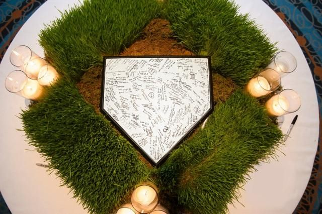 Great idea! have guests sign home plate at wedding :) #baseball
