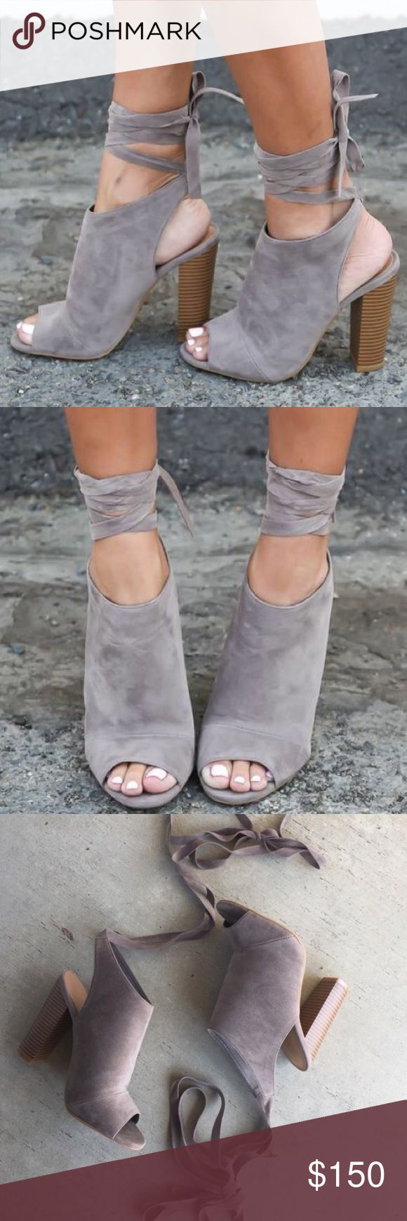 Gray lace up booties Light gray lace up open toe booties. Worn and not in perfect condition. Also for views Aldo Shoes Ankle Boots & Booties