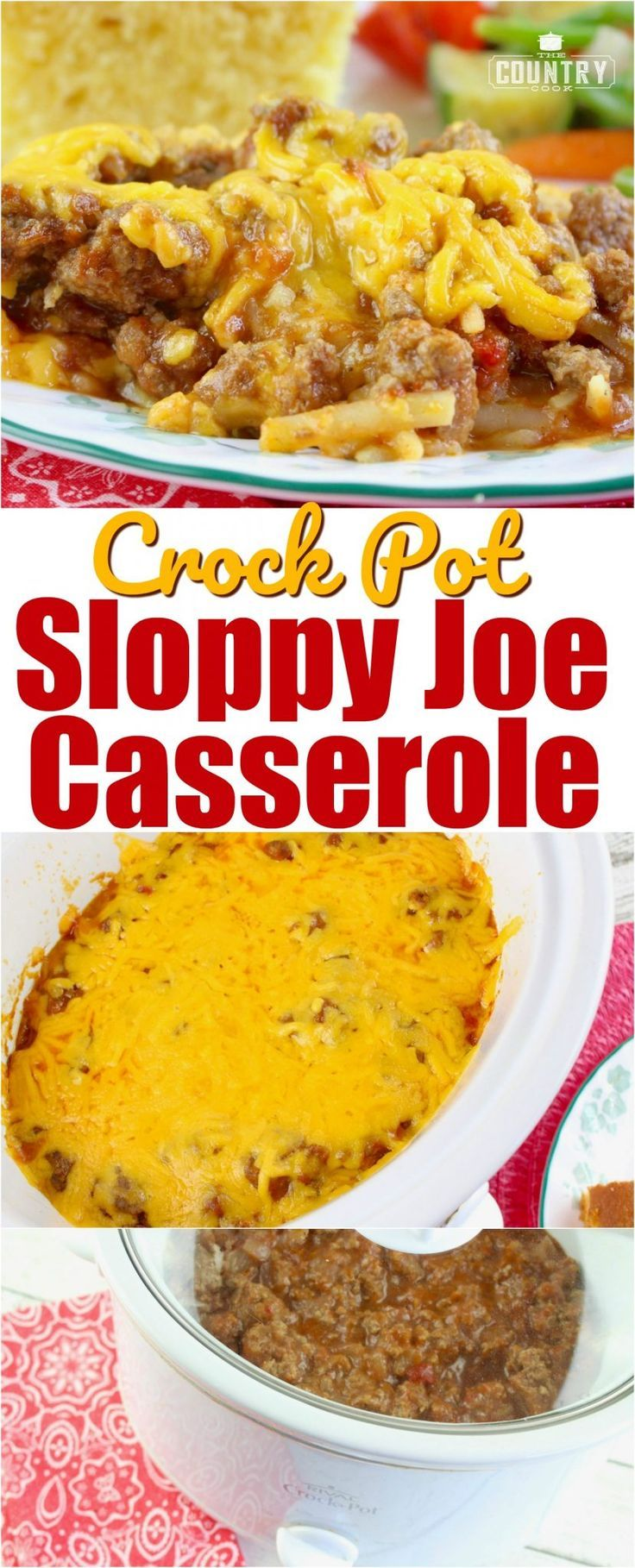 Crock Pot Sloppy Joe Casserole with Hash Brown Potatoes recipe from The Country Cook