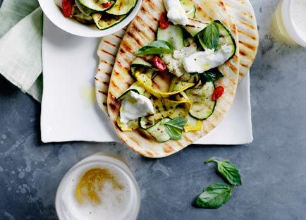 Australian Gourmet Traveller recipe for Char-grilled zucchini and mozzarella piadine