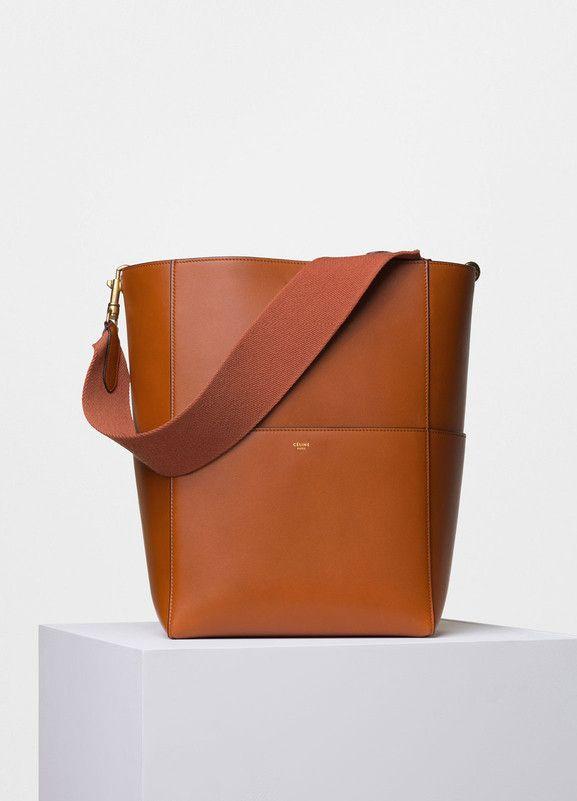 Seau Sangle Shoulder Bag in Tawny Supersoft Calfskin - Céline