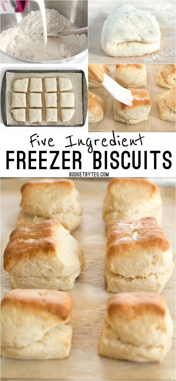 5 Ingredient Freezer Biscuits are the fastest and easiest way to have fresh, warm, and fluffy biscuits for breakfast any day of the week. @budgetbytes