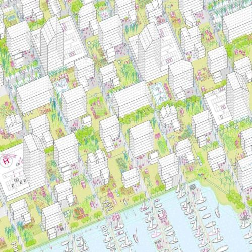 Graphics by Arenas Basabe Palacios They have a distinct style for all their urban design schemes.