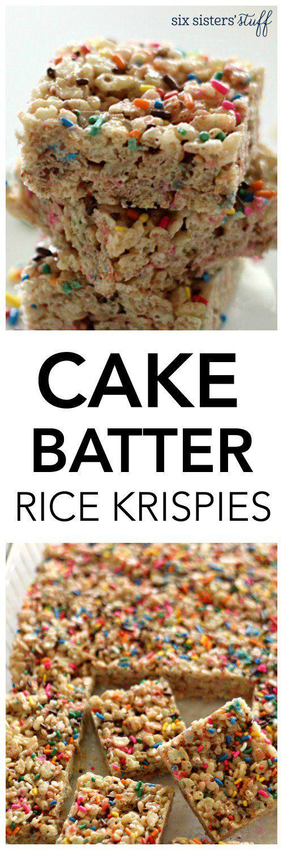 Cake Batter Rice Krispies from SixSistersStuff.com | Kid Favorite Snacks | Birthday Party Treats | Fun Foods | Dessert Recipes