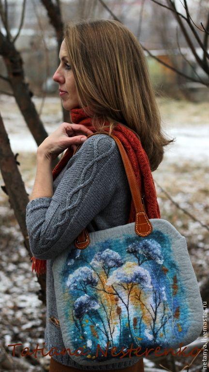 """Купить Сумка """"Первый шаг в зиму"""" - цветы, картина, серый, синий, войлок, шерсть, цветочный"""
