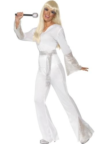 Stand out from the crowd at any fancy dress party with this gorgeous adult women's Super Trooper fancy dress Costume which is perfect for recreating that Abba look! Included is a Red Top with white bell sleeves, coordinating Trousers and Headband! Going as a pair? why not check out our Super Trooper Male fancy dress Costume.