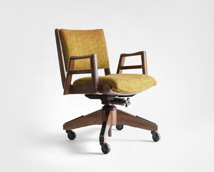 gray swivel office chair 75 vintage wooden west elm vintage wood swivel office chair mid century modern retro 14500 via etsy building pinterest office chair wood and modern retro
