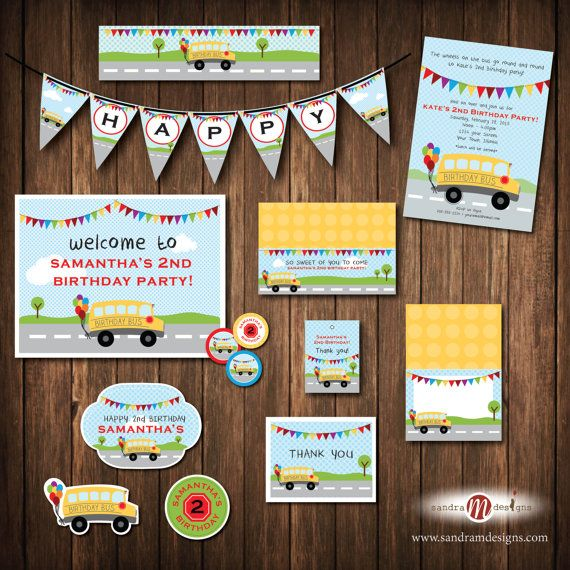 PRINTABLE PARTY: Wheel's on the Bus Birthday by sandraMdesign