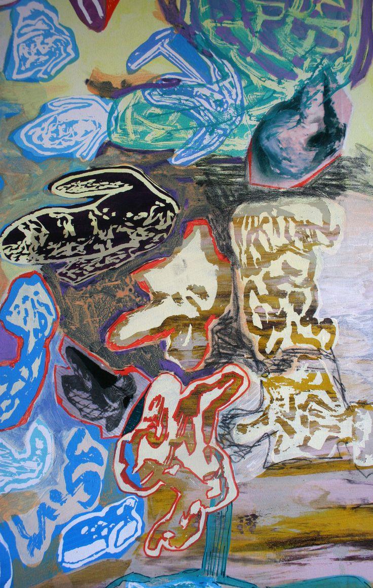 Dustografie IV, detail 1, acrylic on canvas, 150 x 150 cm, 2015, available for sale (www.maia-fine-art.com)