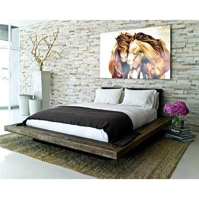 Reclaimed Platform Bed love the platform and wall
