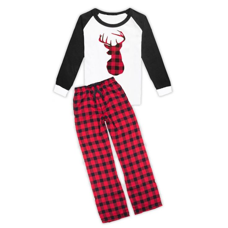 Red black buffalo plaid deer pajama set (unisex and for child/adult) and don't forget to add the optional matching accessories/items: (Head Wrap, Scarf, Hoodie and Hoodie). Available in sizes: Unisex
