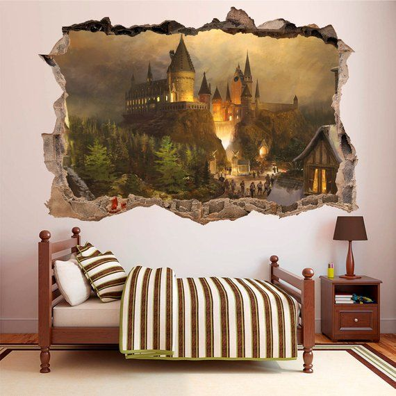 Hogwarts Schloss Harry Potter 3d Aufkleber Aufkleber Vinyl Dekor Wandbild Harry Potter Room Decor Harry Potter Room Harry Potter Decor