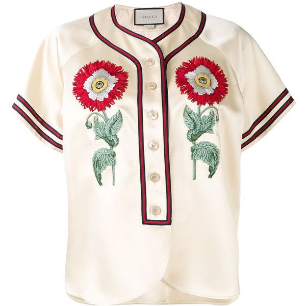 Gucci Duchesse blouse (€1.610) ❤ liked on Polyvore featuring tops, blouses, white, embroidery blouses, floral blouse, gucci blouse, baseball top and floral print tops