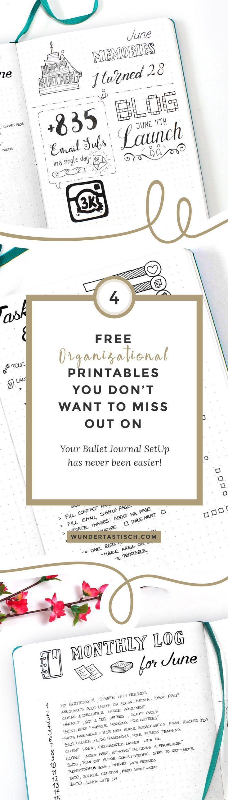 The March Edition of the Free Organizational Printables includes four bullet journal templates which are simple to use and an awesome way to get more organized. They fit your A5 bullet journal or personal planner perfectly. And thanks to their black and white design they can fit any color scheme. Enjoy!
