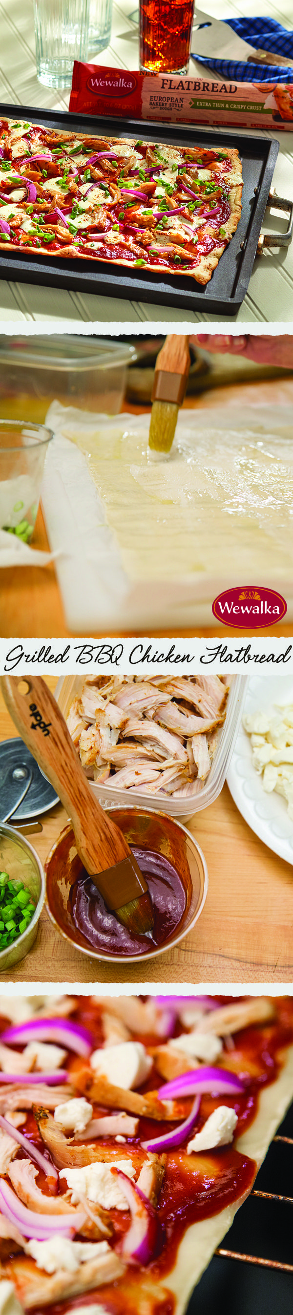 This summer, use your grill for more than brats and burgers! Wewalka's Flatbread Dough grills up extra thin and crispy and is the first flatbread sold refrigerated and ready to use in the U.S. Our Grilled BBQ Chicken Flatbread recipe will make your next barbecue better (and a side of corn salsa adds the perfect summery touch)!