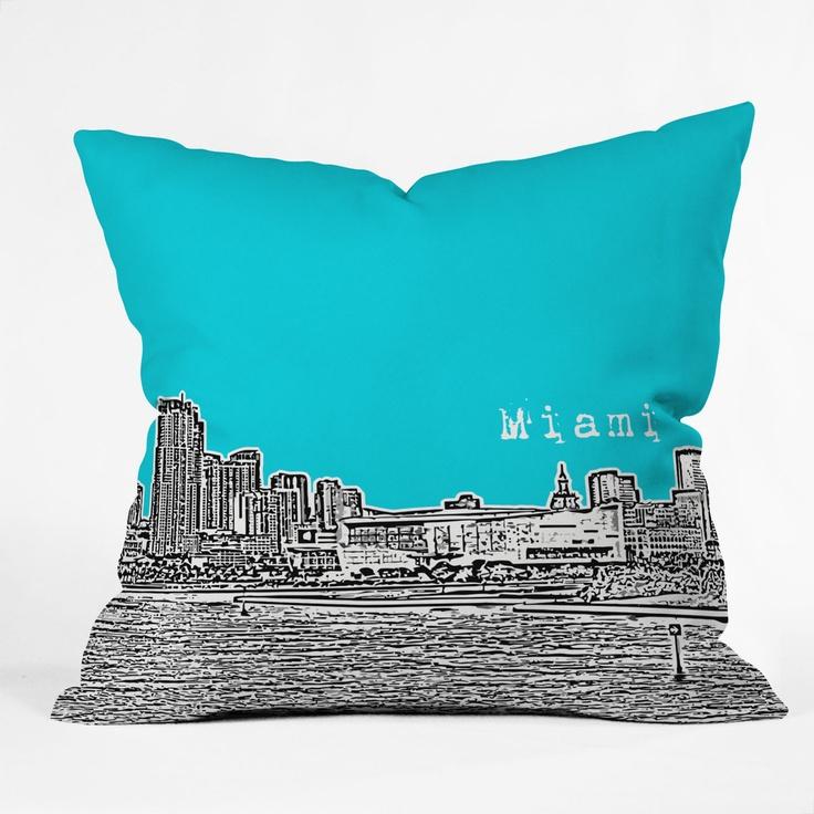 Bird Ave Miami Teal Throw Pillow $39